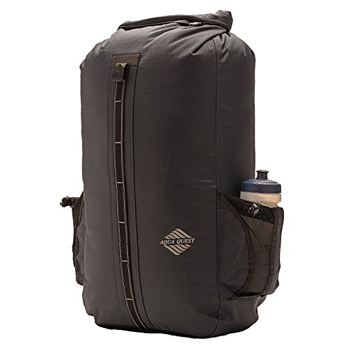 Aqua Quest Sport 30 Charcoal Gray Waterproof Backpack with Water Bottle Pockets, Roll-top for Hiking, Kayak, Ski