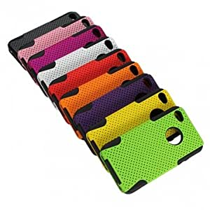 Dual Layer Mesh Hybrid Silicone Rubber Gel Case Cover For iPhone 4 4S --- Color:Orange
