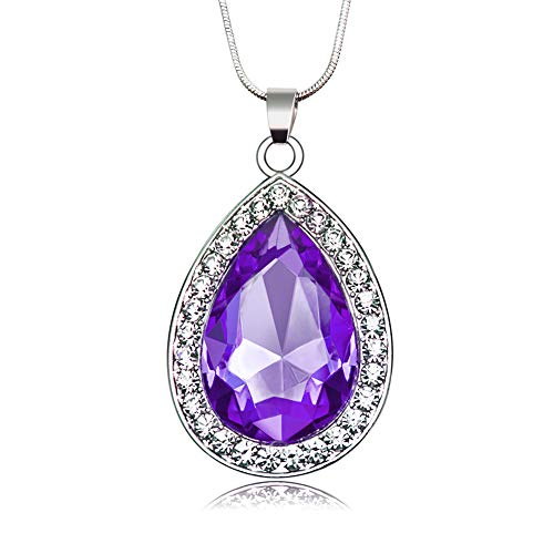 S1 Sofia Princess Amulet Amethyst Necklace Gift for Girls Baby Pandent Necklace Birthday (Purple Style)