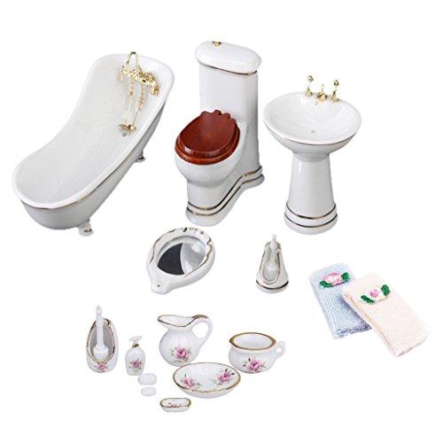 Baoblaze 3 Set 1/12 Scale Miniature Porcelain Furniture Bathtub Toilet for Dolls House Bathroom Decoration Accessory