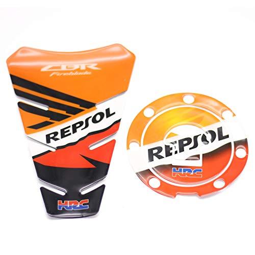 (Moco Fairings 3D Carbon Tank Pad Gas Cap, Motorcycle Sticker for Honda CBR600RR REPSOL HRC CBR FIREBLADE)