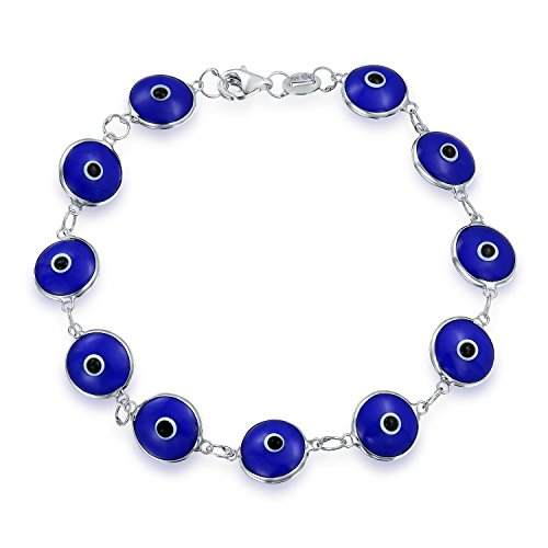 Multi Blue Glass Bead - Turkish Multi Navy Blue Evil Eye Glass Bead Bracelet For Women For Protection And Good Luck 925 Sterling Silver