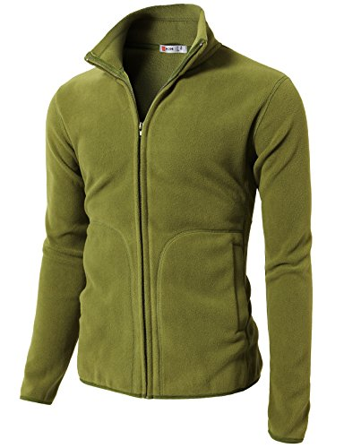 H2H Mens Active Athletic Fleece Zip up Thermal Jacket with Pocket Green US M/Asia L (CMOJA096) ()