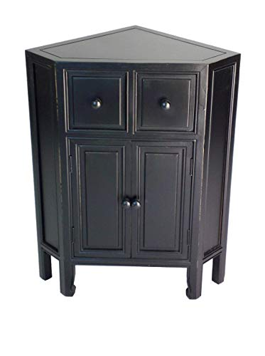 Wayborn Home Furnishing Suchow Corner Cabinet, 30 x 23.5 x 16, Black