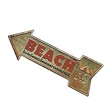 MonkeyJack Arrow Shaped Cast Iron Art Decorative Metal Sign Pub Bar Shop Window Display Wall Door Plaque - Sea Sand Beach, 45*16cm