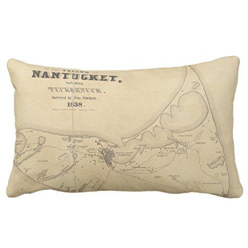 Nantucket Throw Pillow (Zazzle Vintage Map Of Nantucket (1838) Throw Pillow 13