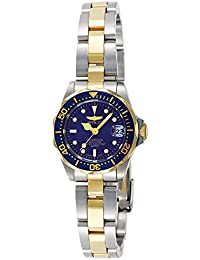 Women's 'Pro Diver' Quartz Stainless Steel Diving Watch, Color:Silver/Gold toned/Blue (Model: INVICTA-8942)