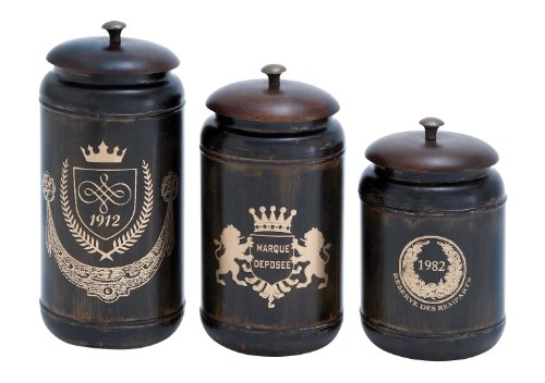 Deco 79 Metal Canisters, 11 by 10 by 8-Inch, Set of 3