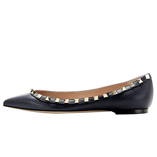 MERUMOTE Womens Flats With Double Buckles Fashion Sexy Rivets Rockstud Daily Pointed Toe Ballet Shoes Pattern Black Without Straps 927GWp