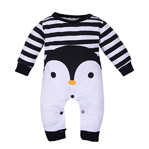 Penguin Costume for Baby, Misaky Newborn Girl Boy Animal Print One Piece Romper Pajamas Outfits (0-3 Months/ Tag 70, Black) -