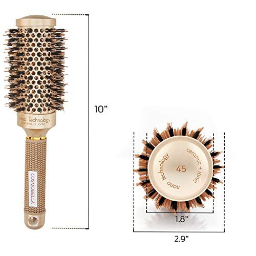 - Professional Round Brush for Hair Drying | Large Brush Ideal for Mid-Long Hair | Natural Boar Bristles | Nano Technology | 2.9 Inch (Cruelty-Free) | Blowout Brush | Thermal Ceramic & Ionic