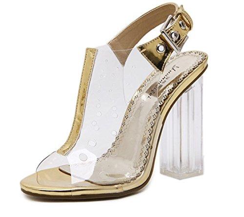 YCMDM Sandali donna Pattini banchetti trasparenti del film Principessa di cristallo alla moda Tacchi alti aperti , gold , 36