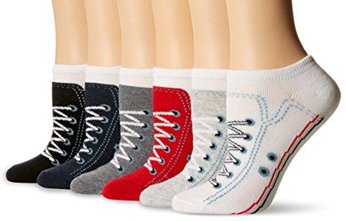 - K. Bell Women's 6 Pack Novelty No Show Low Cut Socks, Sneakers (Black), Shoe Size: 4-10