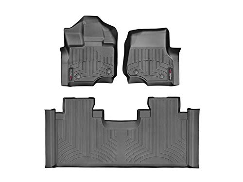 (2015-2018 Ford F-150-Weathertech Floor Liners-Full Set 1st Row Bucket Seating (Includes 1st and 2nd Row)-Fits Supercrew Models Only-Black)