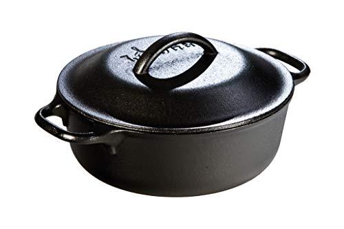 Lodge Manufacturing L1SP3 Cast Iron 1 Quart Pot with Lid, 1, Black (Lodge Logic 2 Quart Camp Dutch Oven)