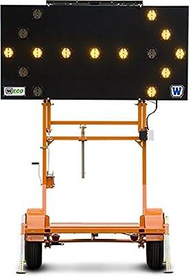 "Arrowboard Trailer, 15 Light, Solar Panel 50W, 12vBat 7 Arrow Modes, Combo 2""Ball&2.5"" Hook Hitch"