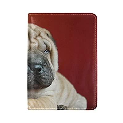 Durable Modeling Shar Pei Puppy Dog Muzzle Leather Passport Holder