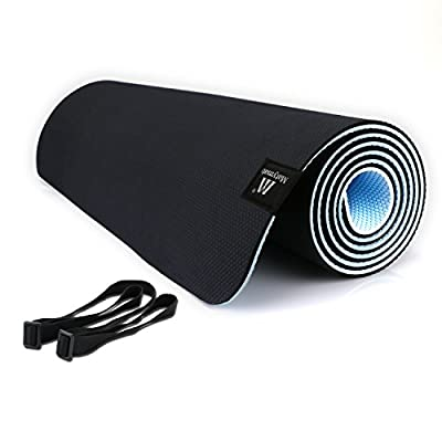 "Matymats Non Slip Yoga Mats 1/4'' Super High Density 100% TPE Mat with Carrying Strap for Yoga Pilates Exercise Workout 72"" X 24"""