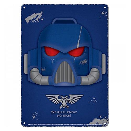 Genuine Warhammer Space Marine Helmet Small A5 Steel Sign Tin Wall Door Plaque Games Workshop ()