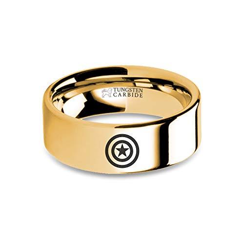 Captain America Star Shield Design Engraved Gold Tungsten Ring - 8 mm
