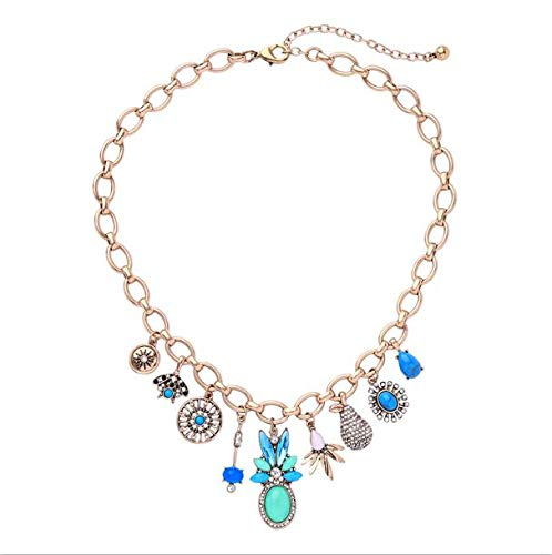 Bohemia Necklace Classical Vintage Blue Resin Crystal Adjustble Necklace for Women Date Gift Necklace ()