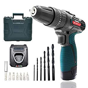 Kuromatsu Cordless Drill Screwdriver 21+3 Torque Gears, DC12V 24N.m 1500mAh Variable Speed Switch, LED Work Light, 13pcs Driver Bits Included