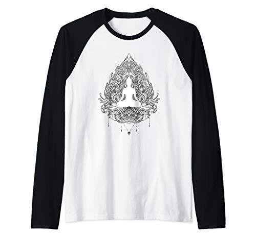 Spiritual Sitting Buddha Meditating on Lotus Flower Raglan Baseball Tee ()