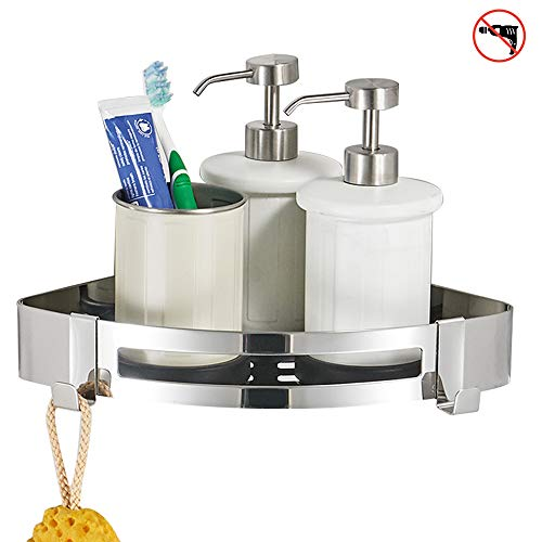 BESy Adhesive Bathroom Shower Corner Shelf Shower Corner Caddy SUS304 Stainless Steel, Drill Free with Glue or Wall Mount with Screws,No Damage 1 Tier Shower Wall Shelves Triangle, Polished ()