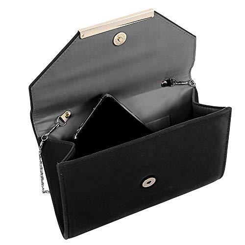 Bag with Women Prom Chain Clutch Velvet Black Purse Shoulder Ladies Handbag Envelope Suede Trim Faux Evening xxBw4qO