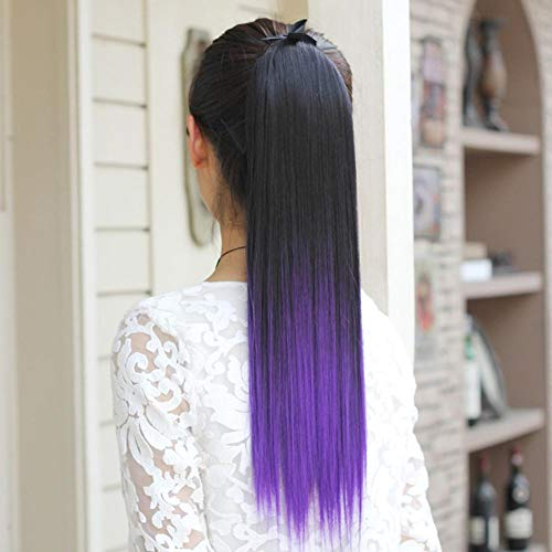 Luziang Wigs for Women,Pick Dye Gradient Color Straight Ponytail lace-up Wig Ponytail Lifelike Fluffy Straight Hair Wig Ponytail ()