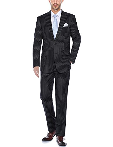 Verno Men's Striped Suits Two Button Pinstripe Classic Fit Black& Grey &Navy Business Suit (Black, 48 Regular/42 ()