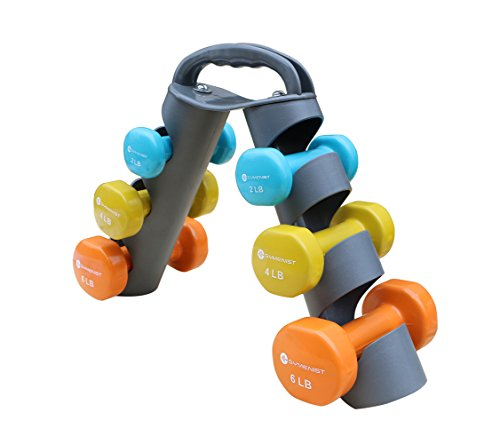 Dumbbell Set with Foldable Rack That Can Stand For Display or Folded For Travel And Storage These Weights (Set Includes 1 Pair of 2LB , 4LB, 6LB POUNDS)