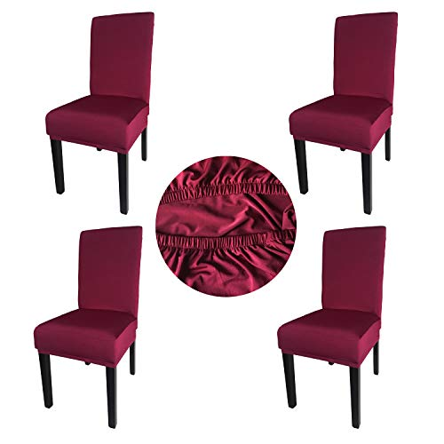 Gold Fortune Spandex Fabric Stretch Removable Washable Dining Room Chair Cover Protector Seat Slipcovers Set of 4 (Bordeaux)