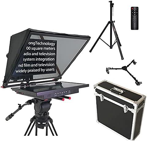 MEILINL Kit De Teleprompter Portátil con Divisor De Haz HD Control Remoto De Vidrio Y Función De Espejo Soporte De Pantalla LCD De 21 Pulgadas Entrada De Señal De Video Vga Hdmi AV