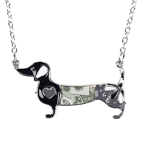 Dachshund Dog Necklace - BONSNY Love Heart Enamel Zinc Alloy Metal Dachshund Necklace Dog Animal Pendant Unique Design (Grey)