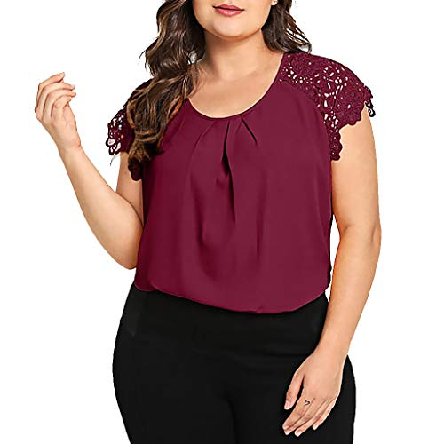 TUSANG Womens Tees Fashion Plus Size Solid O-Neck Floral Lace Shoulder T-Shirt Tops Blouse Slim Fit Comfy Tunic(Wine,US-18/CN-5XL)