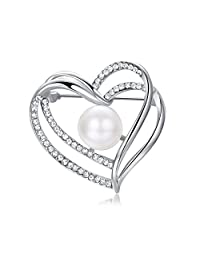 Yoursfs Large Heart Shape Brooch & Pin for Women Elegant Simulated Pearl/Crystal Love Heart Wedding Brooch for Women Girls