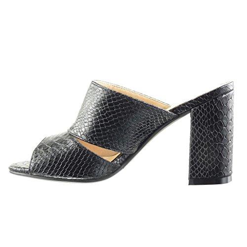 Angkorly - Zapatillas de Moda Mules Sandalias mujer piel de serpiente cocodrilo Talón Tacón ancho alto 9 CM - Negro