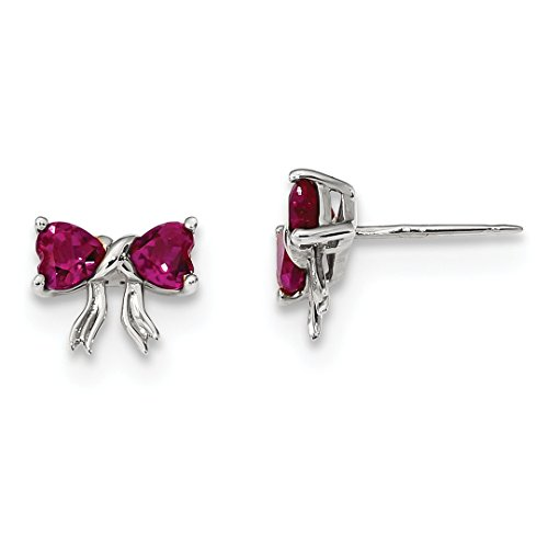 14k White Gold Created Red Ruby Bow Post Stud Earrings Birthstone July Set Style Fine Jewelry For Women Gift Set ()