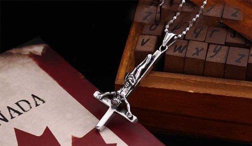 findout inversé en titane acier collier pendentif croix (de F880) (avec 2chain, chaîne en acier de titane et de la chaîne de corde en soie noir avec fermoir en argent 60cm)
