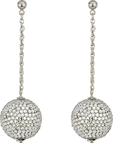 Kenneth Jay Lane Women's Pave Ball On Silver Chain Drop Post Earrings Crystal One Size Crystal Drop Post Earrings