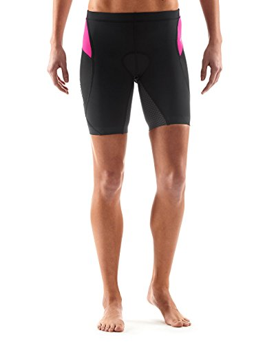 SKINS Women's Tri 400 Triathlon Shorts, Black/Pink, Large by Skins