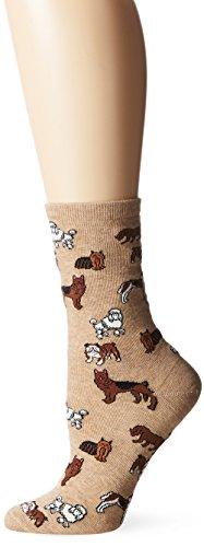 (Hot Sox Women's Animal Series Novelty Casual Crew Socks, Dogs (Hemp Heather), Shoe Size: 4-10)