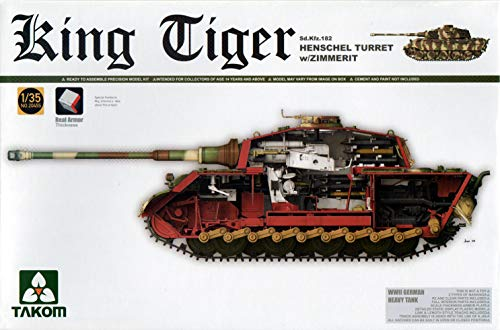 TAK02045S 1:35 Takom King Tiger Sd.Kfz.182 Henschel Turret with Zimmerit [Model Building KIT]