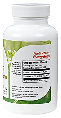 Zahler Vitamin D3 50,000IU, An All-Natural Supplement Supporting Bone Muscle Teeth and Immune System, Advanced Formula Targeting Vitamin D Deficiencies, Certified Kosher, 120 Capsulses