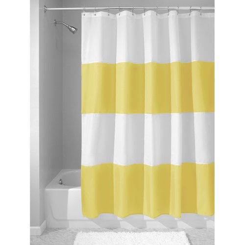 InterDesign Mildew-Free Water-Repellent Zeno Fabric Shower Curtain, 72-Inch by 72-Inch, Yellow/White (Yellow Duck Shower Curtain compare prices)