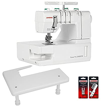 Janome Cover Pro 2000 CPX Máquina de coser cover con zona de trabajo y 2 pies