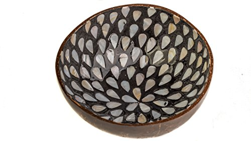 WhimMarket Beautiful Decorative Handmade Vietnamese Lacquered Natural Coconut Shell Bowls with Eggshell, Mother of Pearl, Gold and Silver Leaf Inlay (Black Shell Inlay)