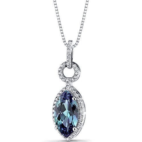 Simulated Alexandrite Marquise Pendant Necklace Sterling Silver 3.5 Carats
