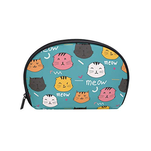 Senya Travel Cosmetic Bag Small Makeup Portable Carry Case Pouch Girls Women Personalized Organizer Tote Bag For Jewelry Toiletries Cats Vector Pattern Doodle Art
